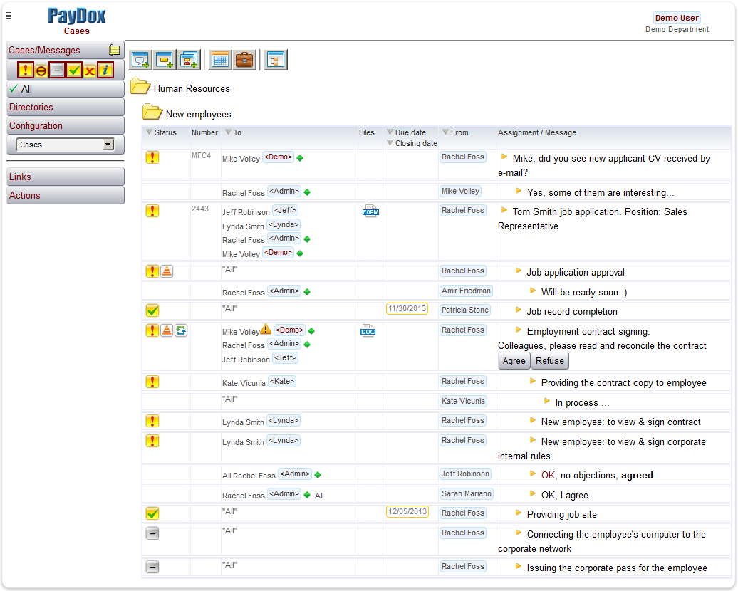 PayDox Adaptive Case & Task Management: table view