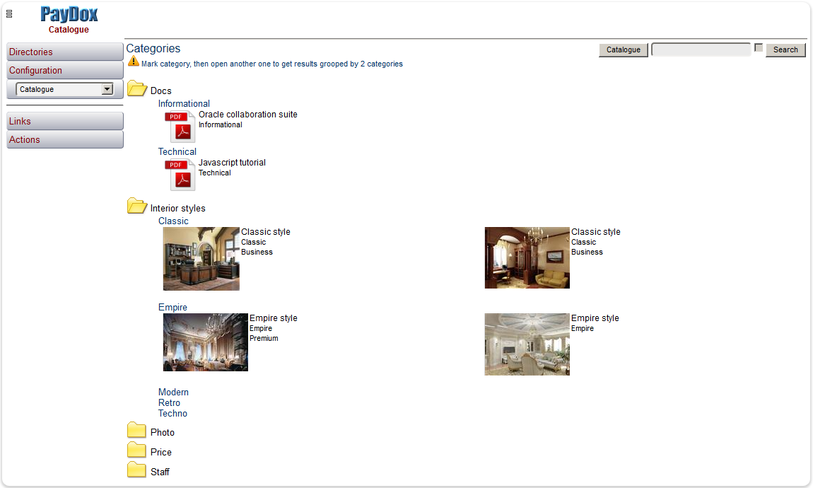 How to view files by categories