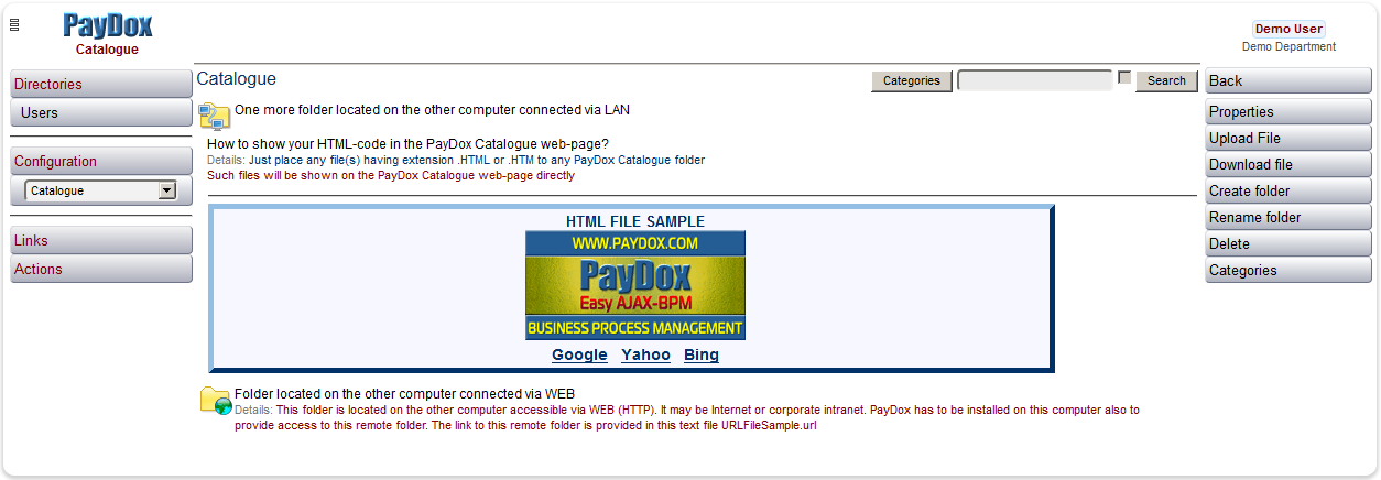 How to show your HTML-code in the PayDox Catalogue web-page